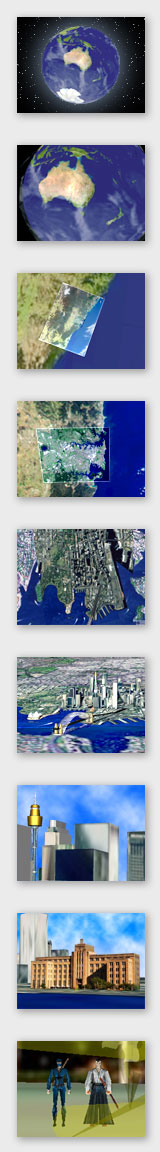 Zooming in from orbit into Australia, and then down to Sydney to the forecourt of the Museum of Contemporary Art.